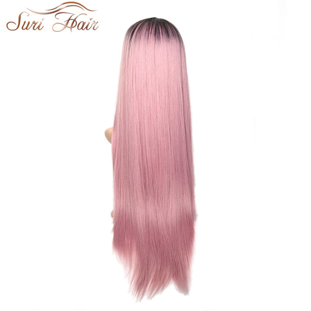 Suri Hair 30inche long straight Synthetic Lace Front Wig Ombre Pink black Roots Heat Resistant Fiber side part for women cosplay
