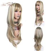 Suri Hair Blonde Mix Color Wigs For Women Long Wavy Heat Resistant Synthetic Wigs With Bangs 26 inch