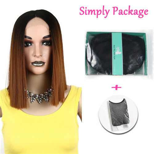 Suri Hair Ombre Brown Straight Synthetic Hair Lace Front And T Part Wig 18 Inch Wigs For Women 3 length for Choice Cosplay Wig