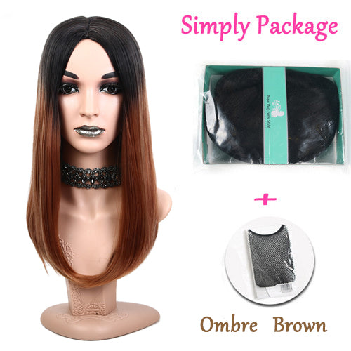 Suri Hair machinemade long Black Ombre brown straight hair Heat Resistant Hair Party Synthetic Wig For Women Daily cosplay wigs