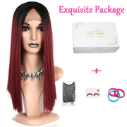 Suri Hair long ombre Straight Synthetic Hair Lace Front And T Part Wig 18 Inch Wigs For Women Cosplay Wig Free Shipping 1B-Red#