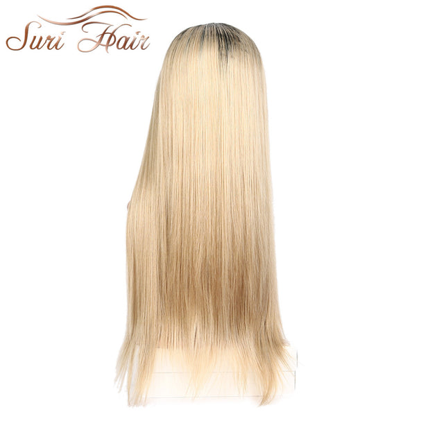 Suri Hair Straight Ombre Blonde Lace Front Wig Without Baby Hair 130% Density Glueless Heat Resistant Synthetic Wigs For Women