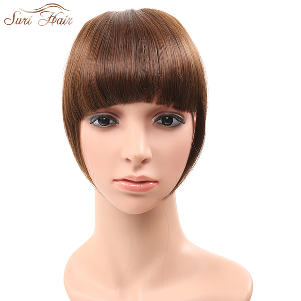 Suri Hair 2pcs/lot Clip In Blunt Bangs Synthetic Fake Hair Extension Fringe Bangs Hairpiece For Women 3 Colors Available