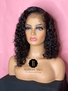 Deep Curly Lace Frontal Asymmetrical Bob Wig 200% Density  (Pre-Made)