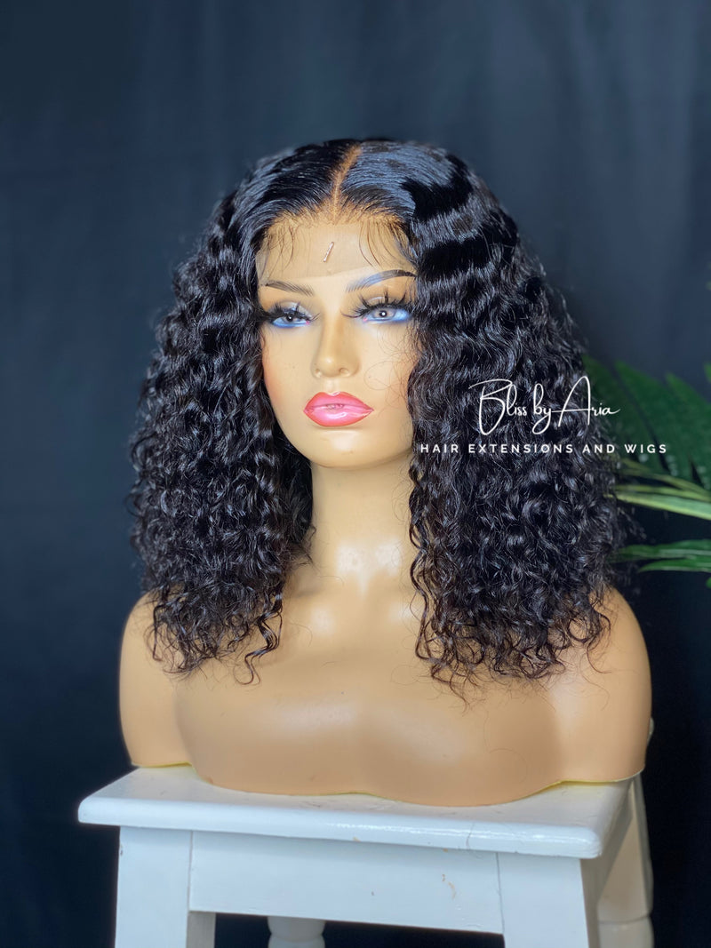 "* NEW* GISELLE - 14"" Deep Wave lace Closure Bob Wig (Custom-Made)"