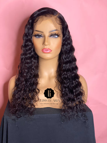 Deep Wave Lace Frontal Wig 130% Density  (Pre-Made)