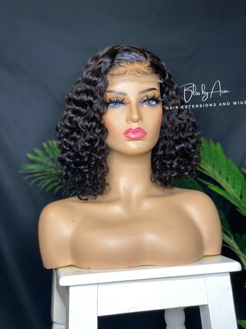 "10"" NICOLE Asymmetrical Bob (Deep Curly) Lace Closure (Side-Part)"