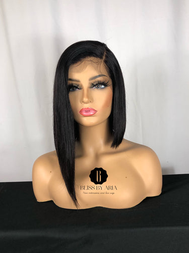 MEGAN - Straight lace Frontal Asymmetrical BOB Wig (Custom-Made)