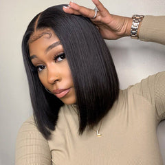 Straight Lace Frontal Bob Wig 150% Density  (Pre-Made)
