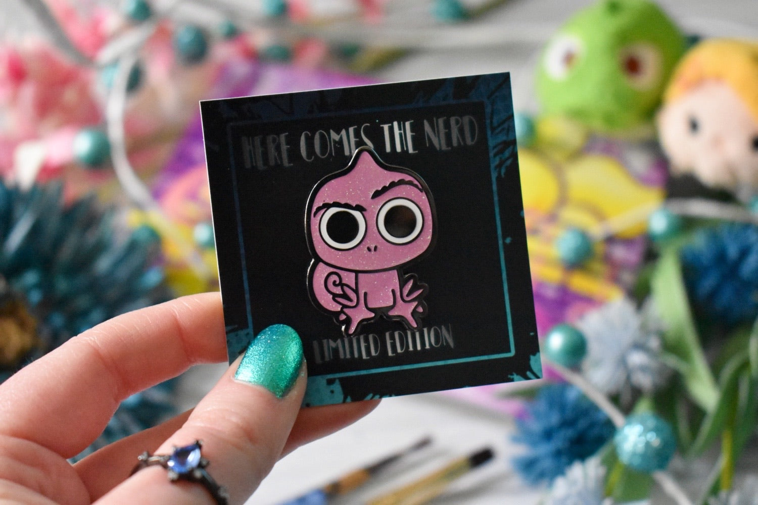 *Limited Edition* Pink Glitter Chameleon - Enamel Pin