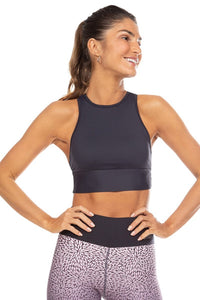 Halter Prospect Cropped Top Black