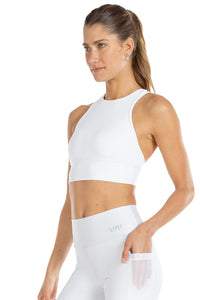 Halter Prospect Cropped Top White
