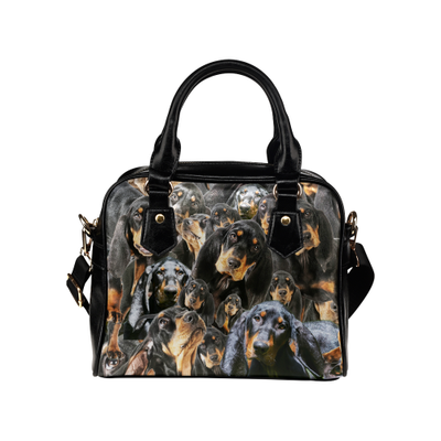 Black and Tan Coonhound Face Shoulder Handbag