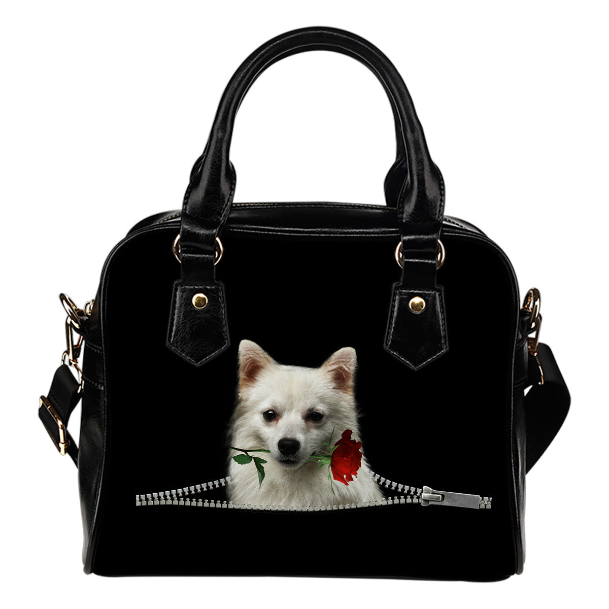 German Spitz Rose Zipper Shoulder Handbag