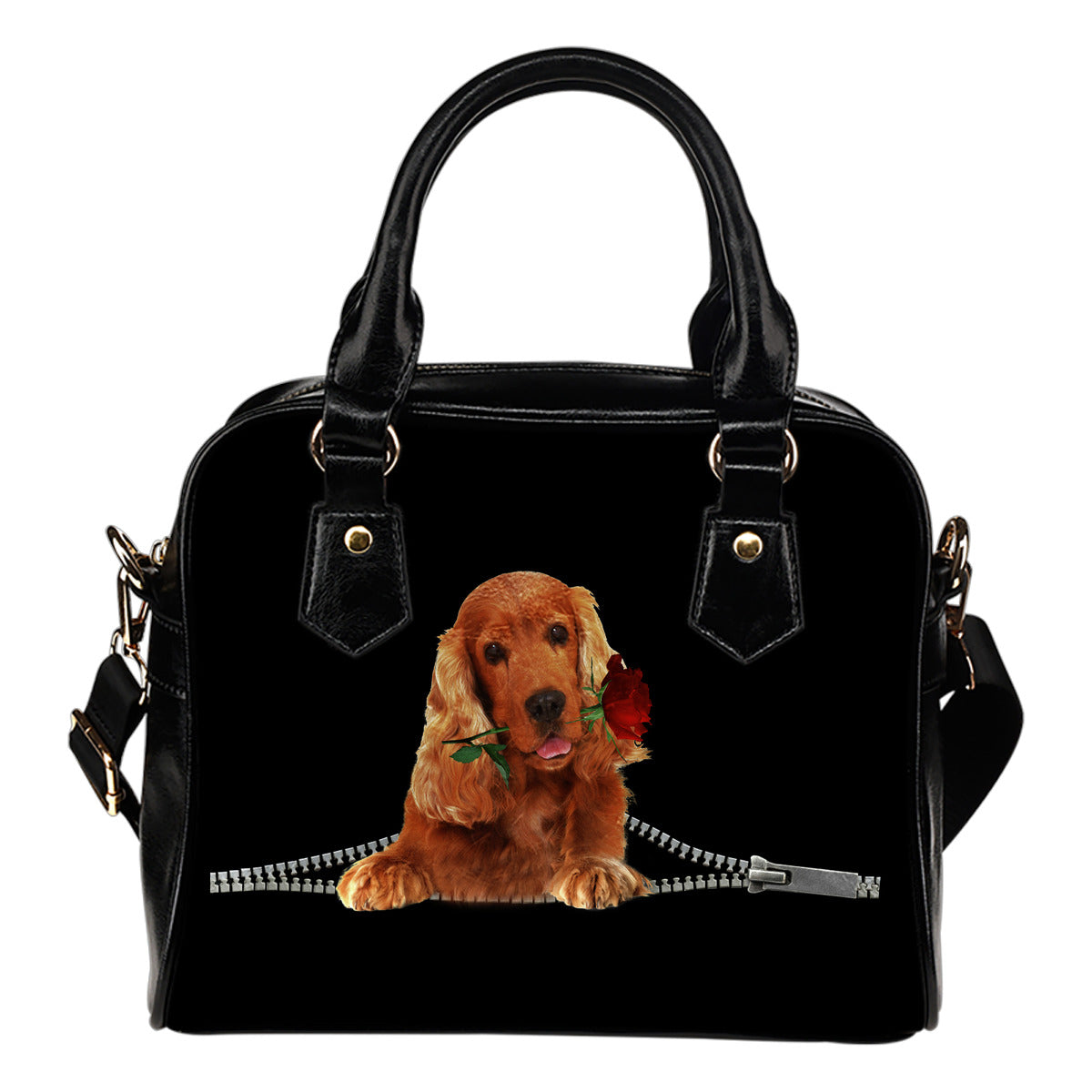 English Cocker Spaniel 2 Rose Zipper Shoulder Handbag