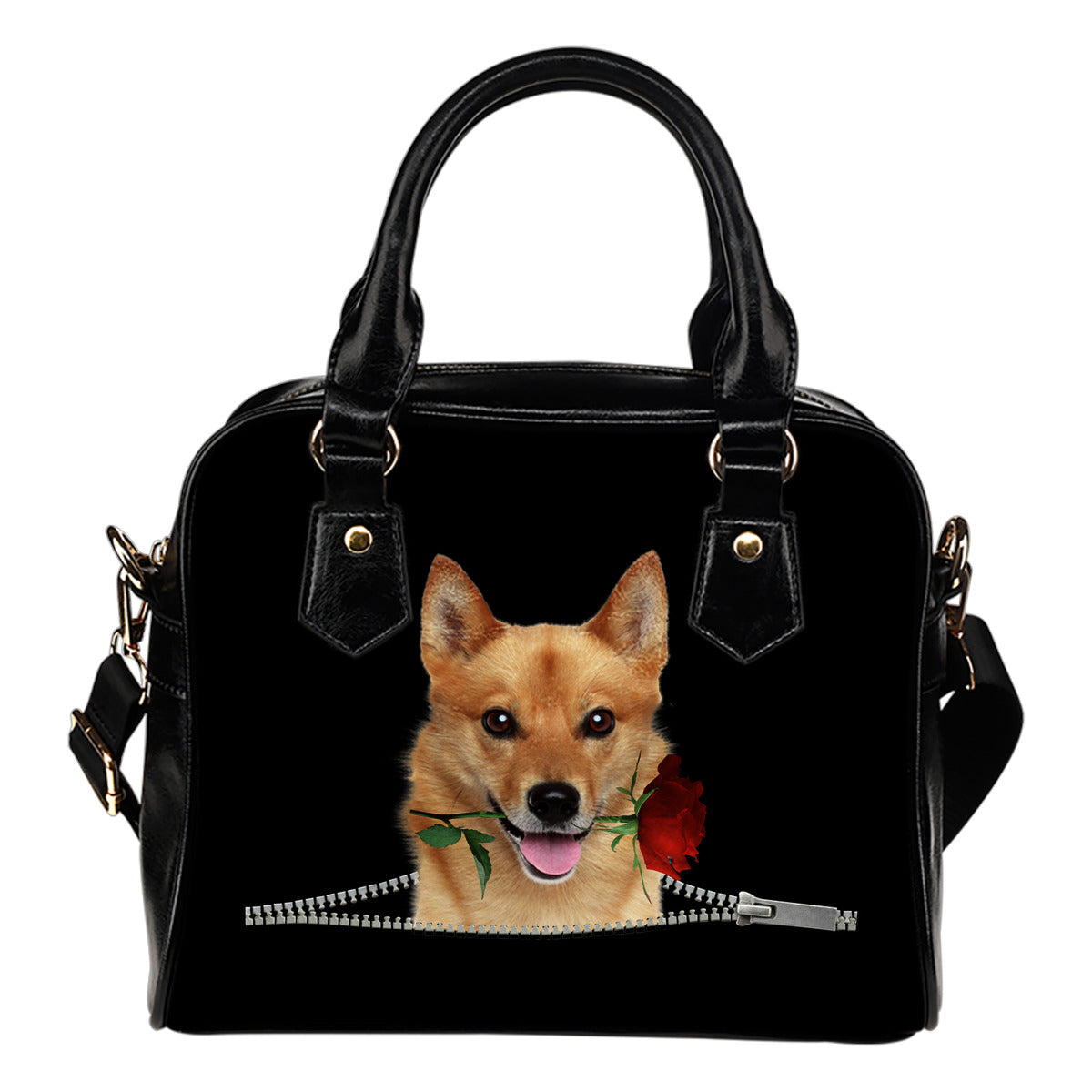 Finnish Spitz Rose Zipper Shoulder Handbag