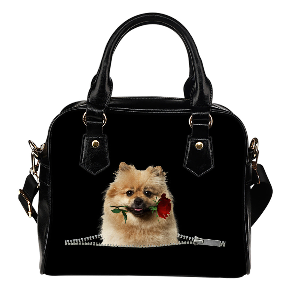 Keeshond Rose Zipper Shoulder Handbag