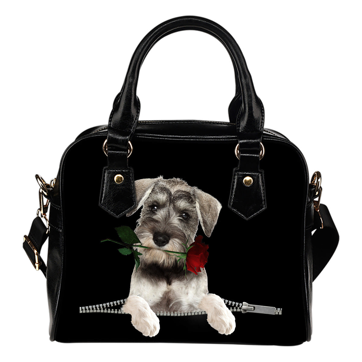 Schnauzer Rose Zipper Shoulder Handbag
