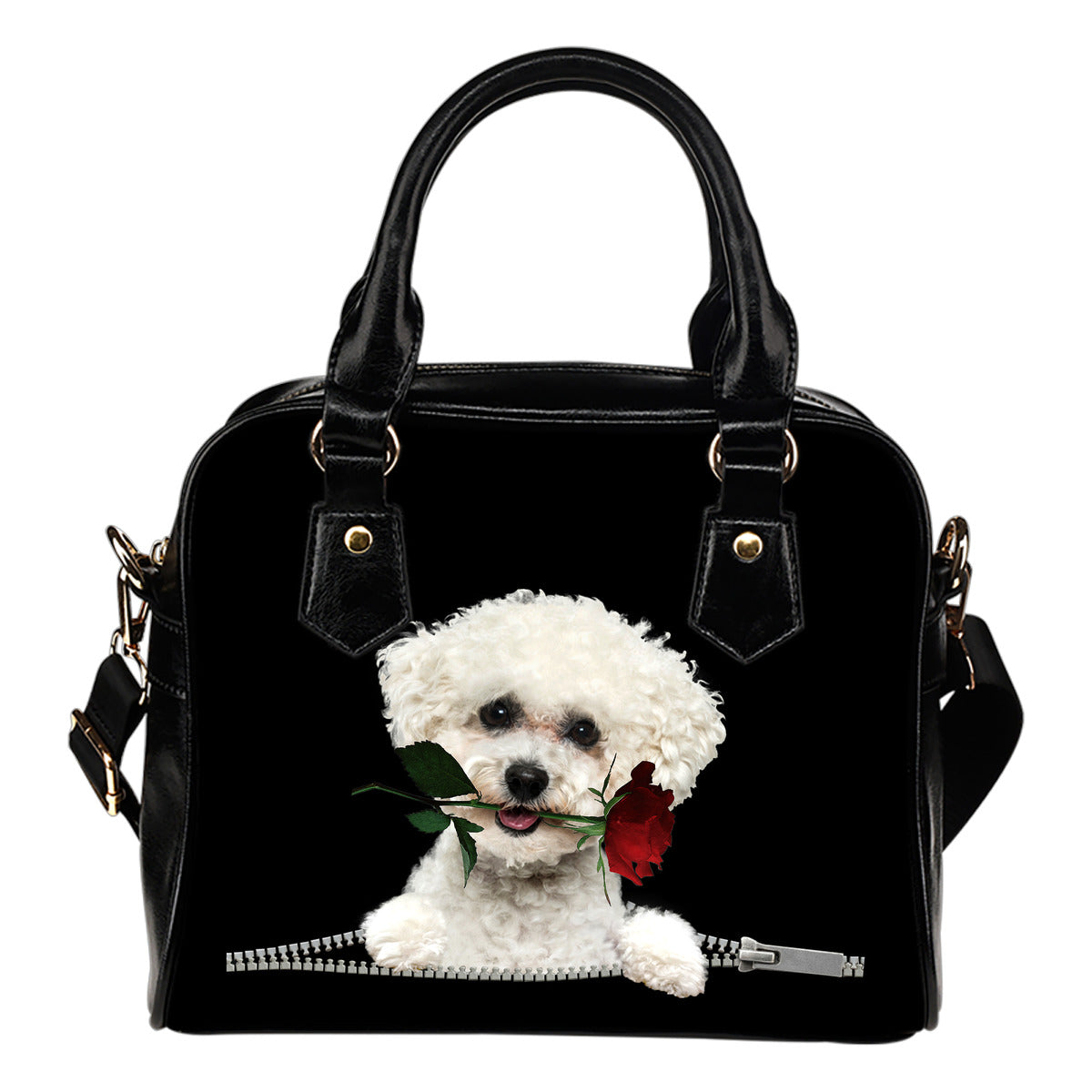 Bichon Frise Rose Zipper Shoulder Handbag