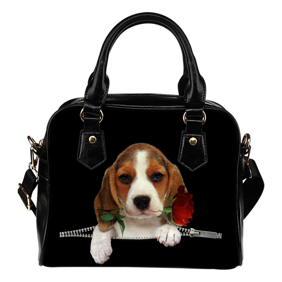 Beagle Rose Zipper Shoulder Handbag