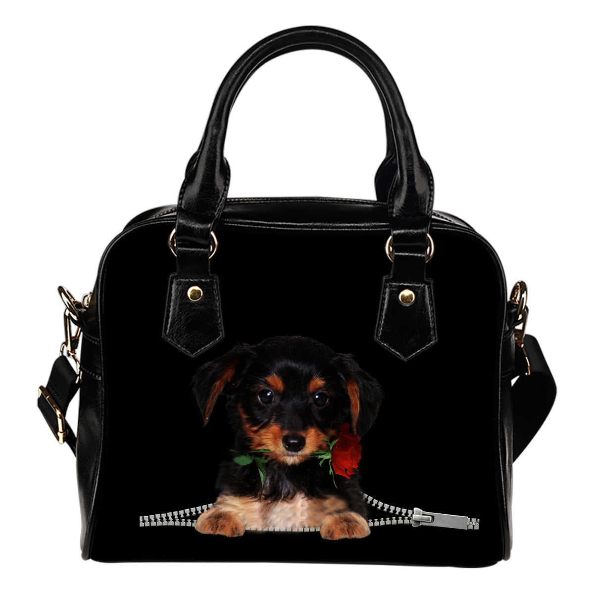 Dorkie Rose Zipper Shoulder Handbag