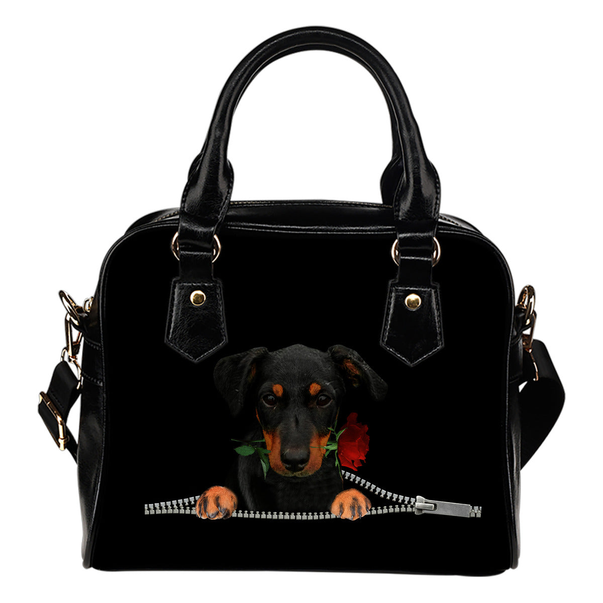 Jagdterrier Rose Zipper Shoulder Handbag