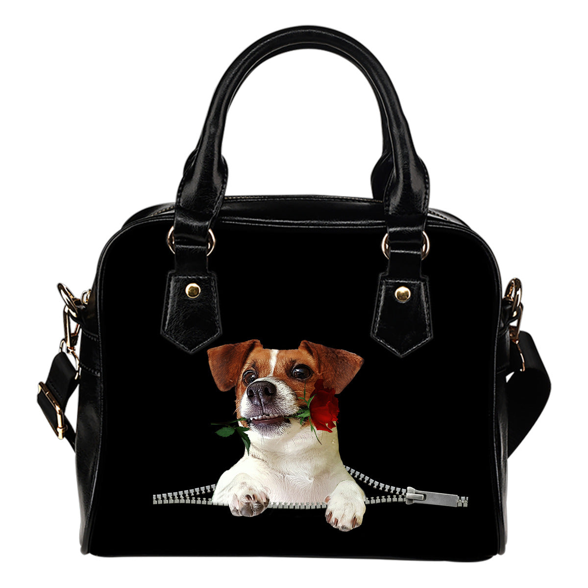 Jack Russell Terrier Rose Zipper Shoulder Handbag