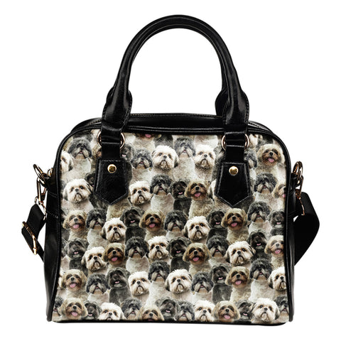Shih Tzu Full Face Shoulder Handbag