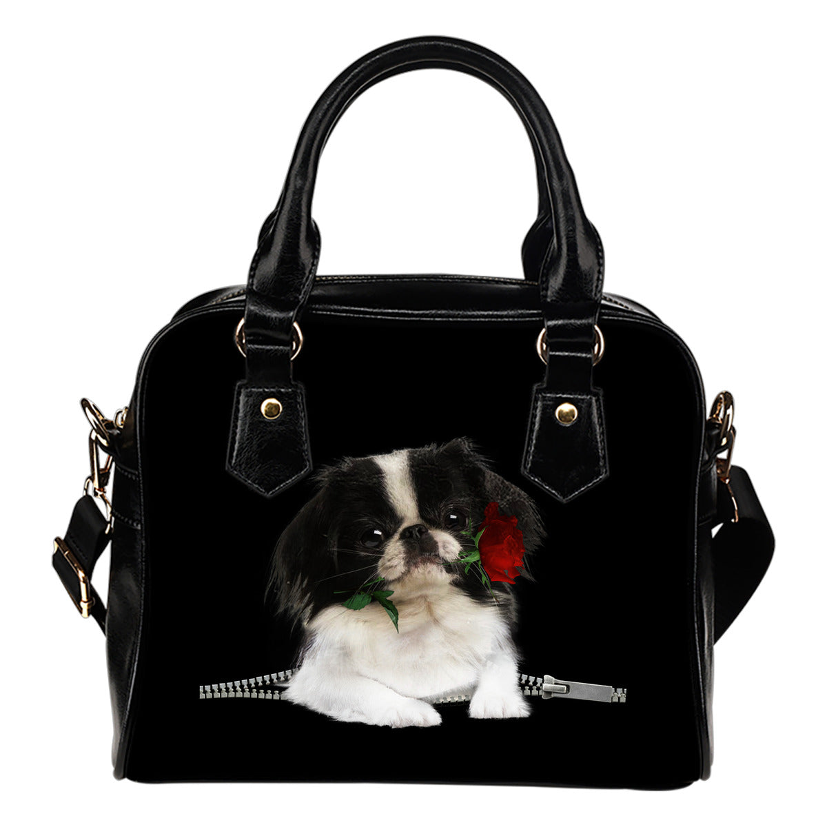 Japanese Chin Rose Zipper Shoulder Handbag