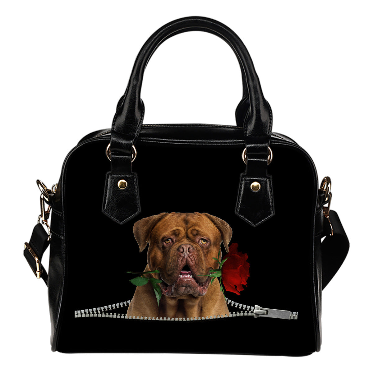 Dogue de Bordeaux Rose Zipper Shoulder Handbag