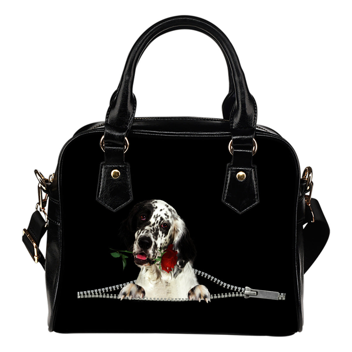 English Setter Rose Zipper Shoulder Handbag