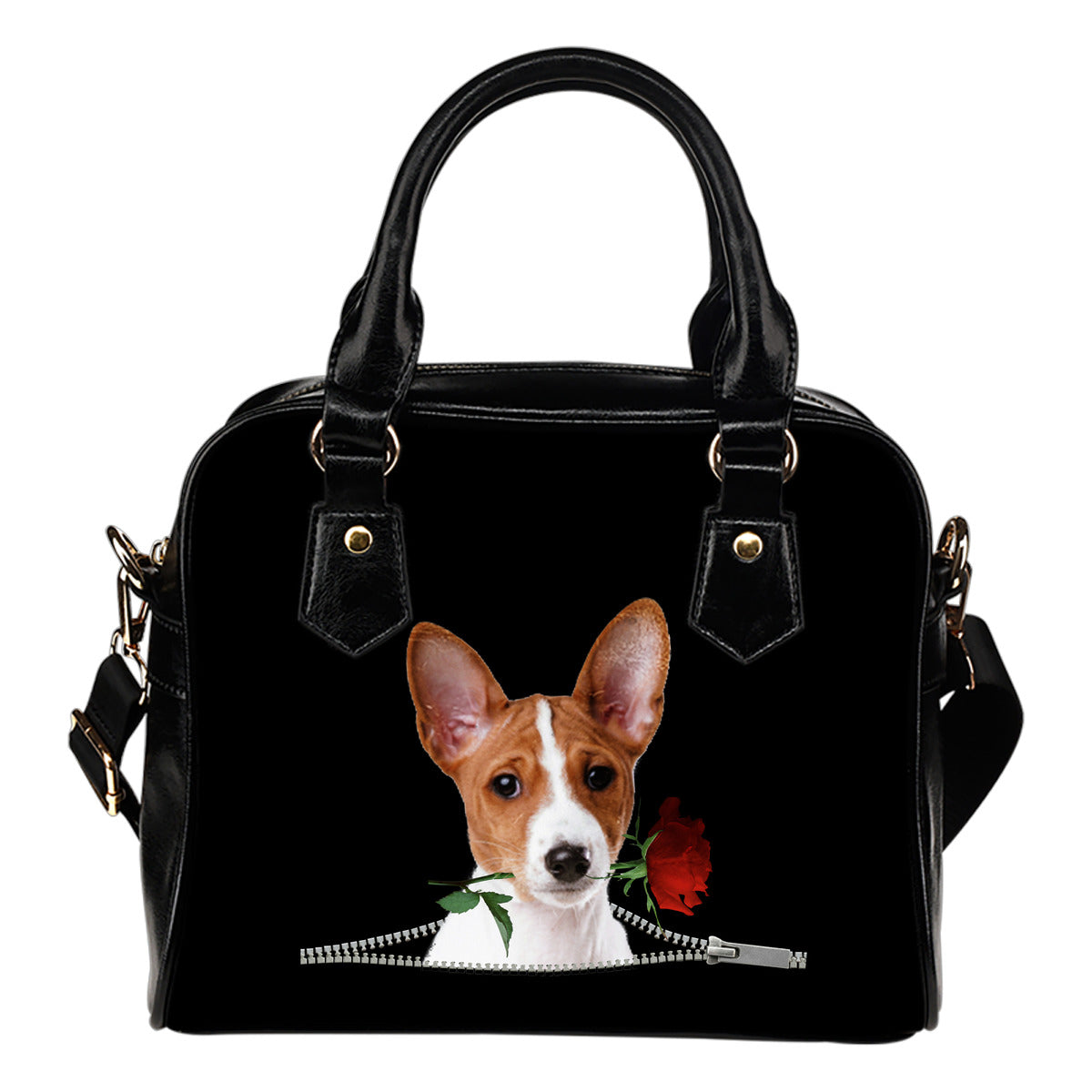 Basenji Rose Zipper Shoulder Handbag