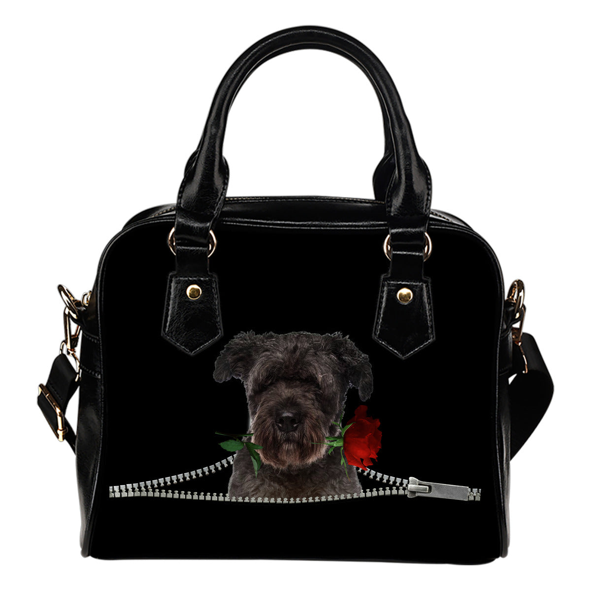 Bouvier Des Flandres Rose Zipper Shoulder Handbag