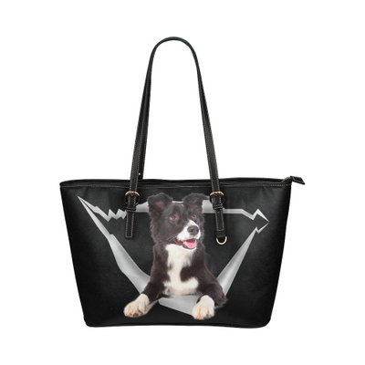 Border Collie Leather Tote Bag