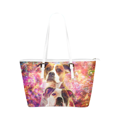 American Bulldog Leather Tote Bag
