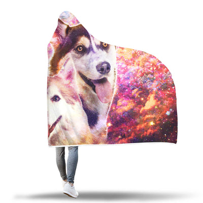 Siberian Husky Hooded Blanket