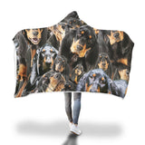 Black and Tan Coonhound Hooded Blanket