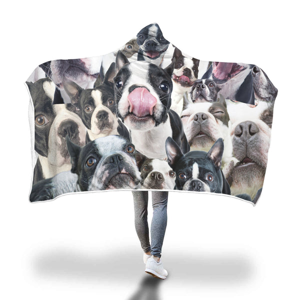 Boston Terrier Hooded Blanket
