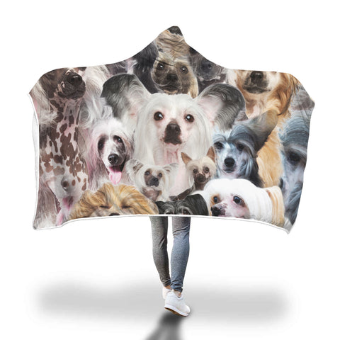 Chinese Crested Dog Hooded Blanket