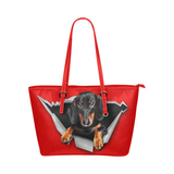 Dachshund Leather Tote Bag