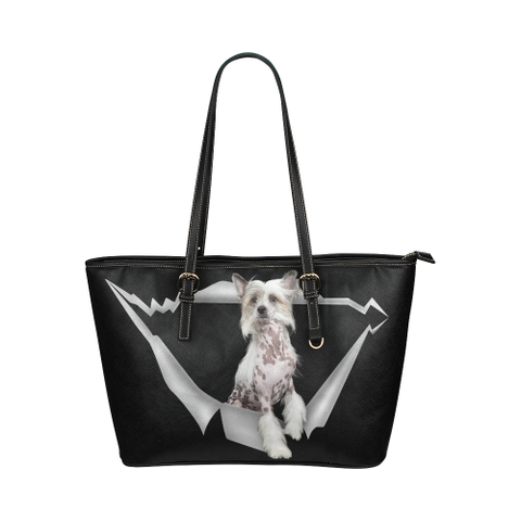 Chinese Crested Leather Tote Bag