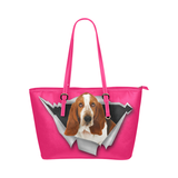 Basset Hound Leather Tote Bag