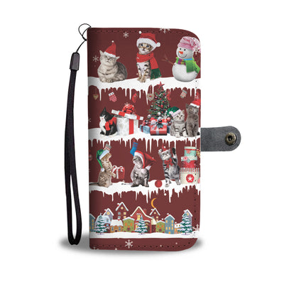 Cat Snow Christmas Wallet Case