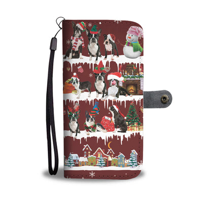 Boston Terrier Snow Christmas Wallet Case