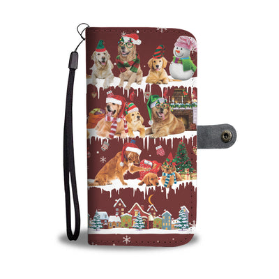 Golden Retriever Snow Christmas Wallet Case