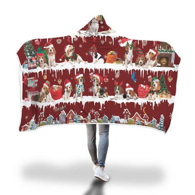 Beagle Snow Christmas Hooded Blanket