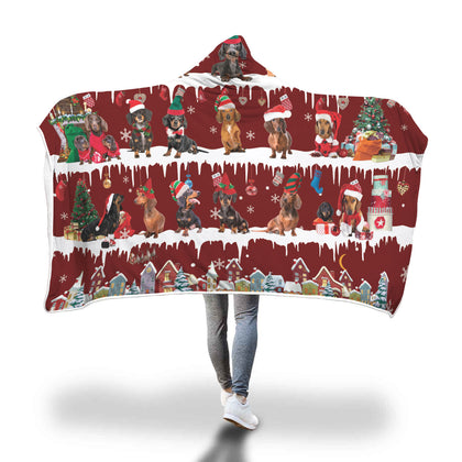 Dachshund Snow Christmas Hooded Blanket
