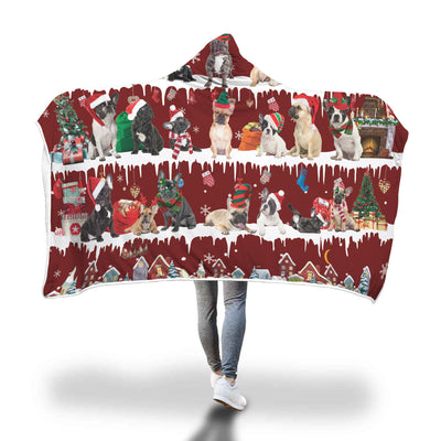 French Bulldog Snow Christmas Hooded Blanket