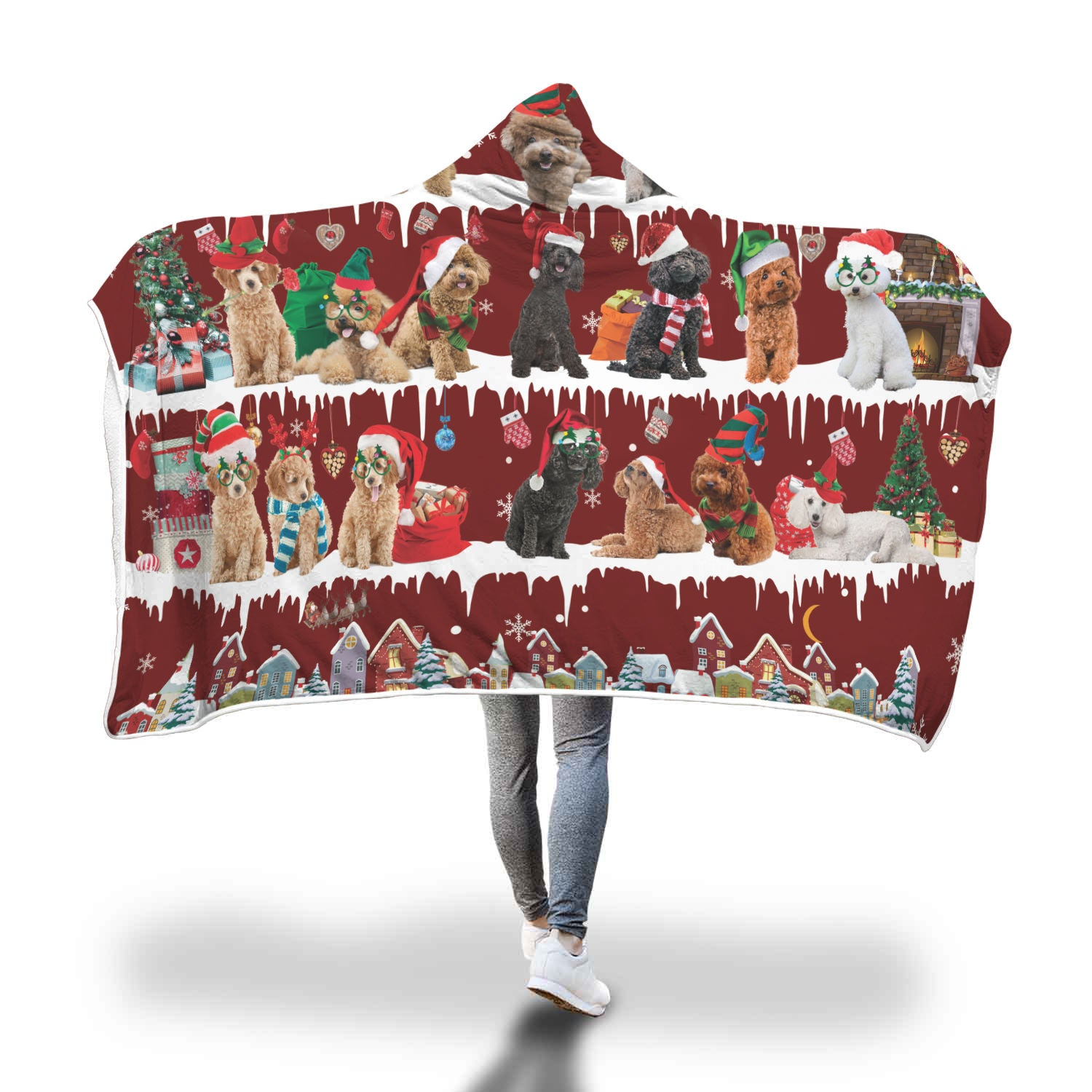 Poodle Snow Christmas Hooded Blanket