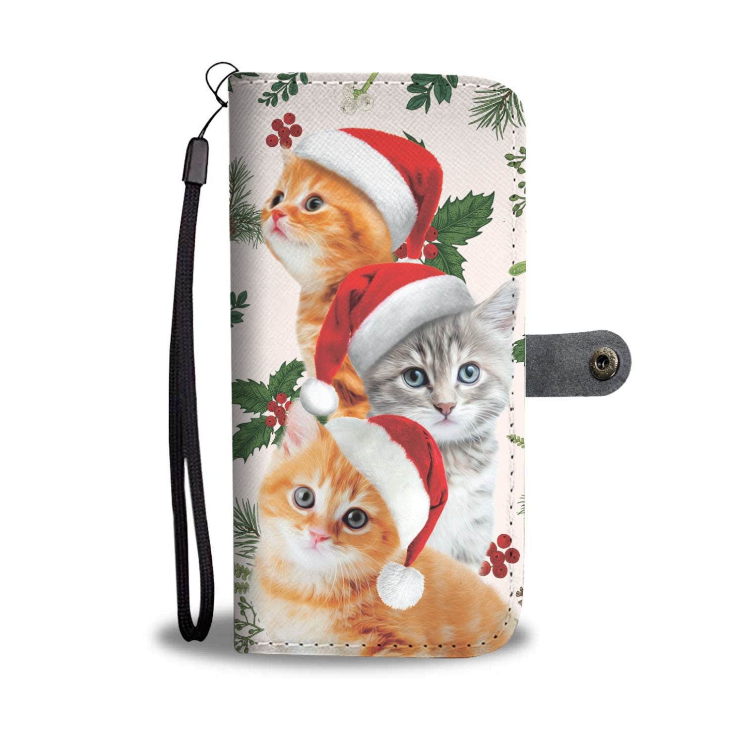 Cat Santa Hat Christmas Wallet Case
